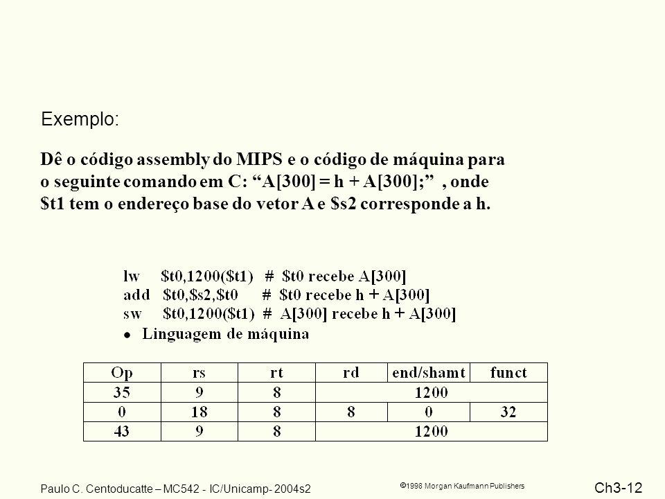 Exemplo: Dê o código assembly do MIPS e o código de máquina para. o seguinte comando em C: A[300] = h + A[300]; , onde.